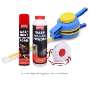 Wasp nest killer pack including Rentokil Wasp Killer Foam, Powder, bellow duster and proective gloves and mask
